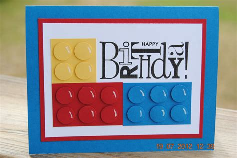 Lego Birthday Cards Handcrafted Kids Building Block Style Building Block Birthday