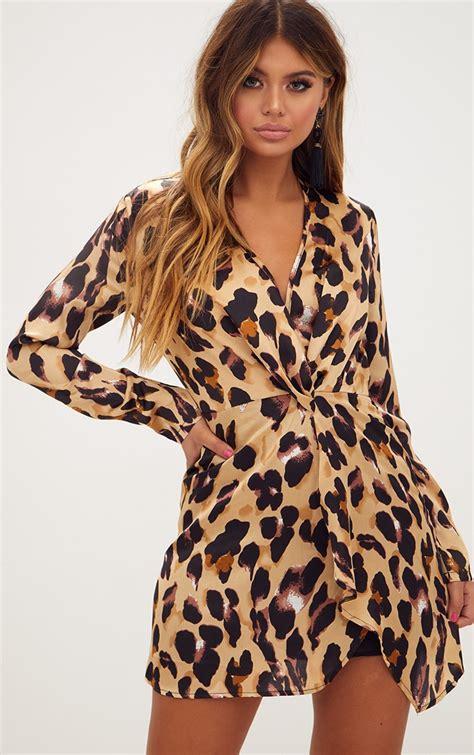 Print Sleeves Dress womens clothing dresses leopard print satin sleeve