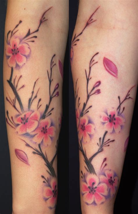 cherry blossom sleeve tattoo designs the map