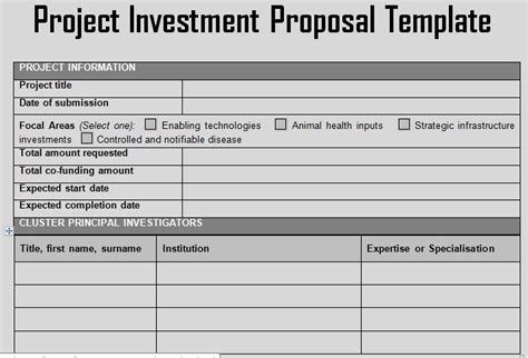business investment template get project investment template projectemplates