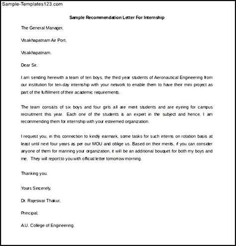 Recommendation Letter For Student Summer Program Printable Sle Recommendation Letter For Internship Sle Templates