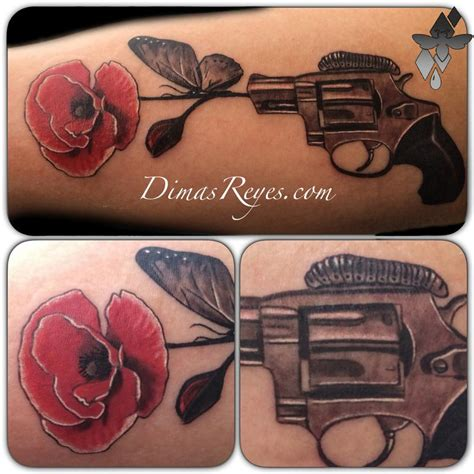 butterfly tattoo gun black and grey pistol and flower tattoo by dimas reyes