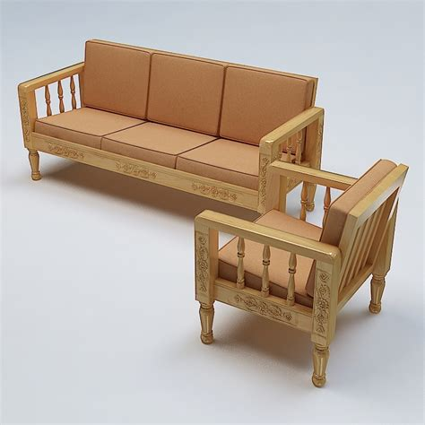 sofa set wood sofa set wooden 3d model