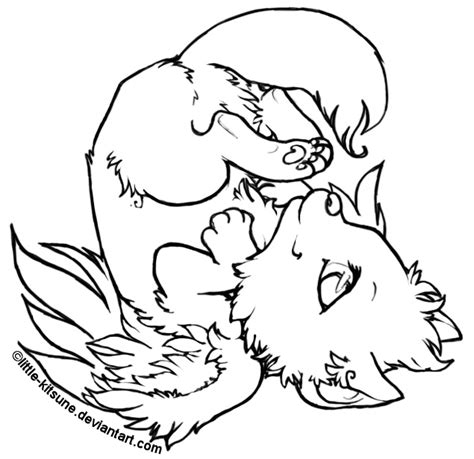 winged wolf coloring page winged wolf cub lineart by little kitsune on deviantart