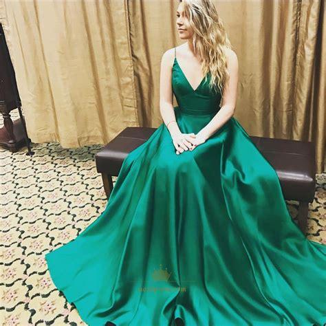 Ral Pict Kebaya Satin Jadi emerald green spaghetti a line floor length gown next prom dresses