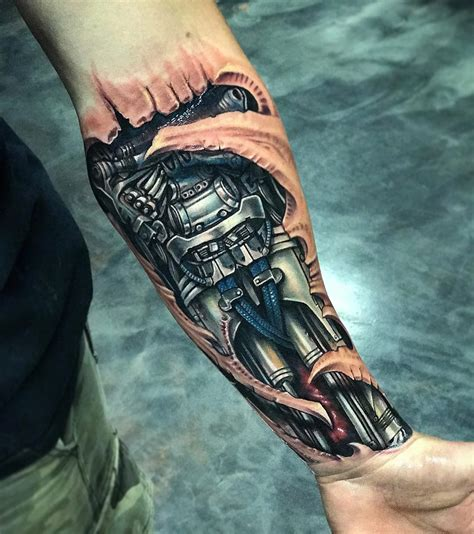 robot forearm mens biomechanical piece best tattoo