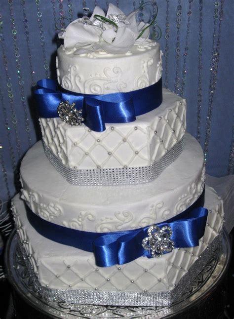 Hexagon Royal Blue Wedding Cake   CakeCentral.com