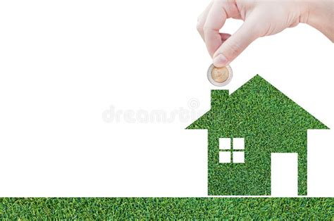 dream house mortgage coin hand holding house icon in nature as symbol of mortgage dream house on nature