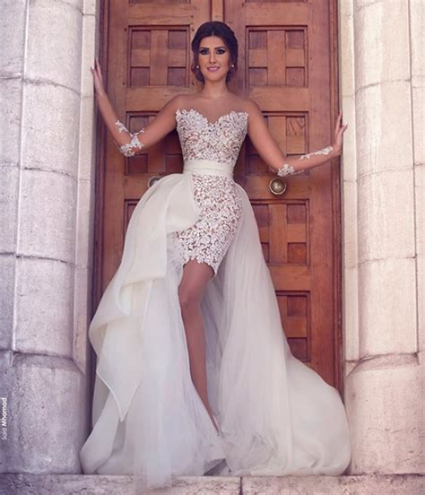 Wedding Dress With Detachable Skirt by O Neck Sleeve Lace With Tulle Detachable Skirt