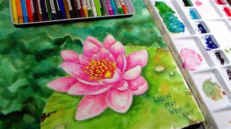 watercolor water lily tutorial waterlily in watercolor watercolor pencil real time