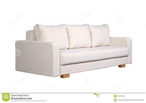 side couch sofa with white fabric upholstery side view stock photo