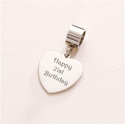 Happy 21st Birthday Heart Charm Sterling Silver fits Pandora   Charming Engraving