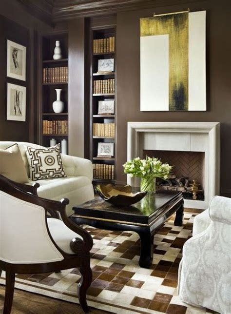 dark brown living room walls dark brown walls with white brown and white office or den