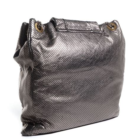 Chanel Metallic Crackled Bag by Chanel Metallic Crackled Perforated Calfskin Drill