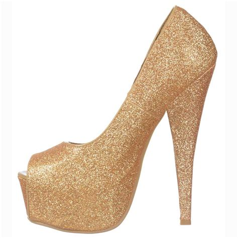 gold high heel shoekandi gold sparkly glitter peep toe stiletto concealed