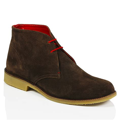 mens classic suede leather desert chukka casual mid lace