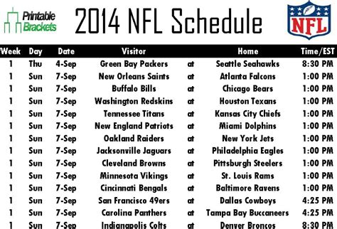 printable schedule of nfl games 2014 nfl schedule nfl schedule 2014 printable nfl schedule