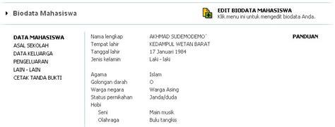 format biodata lengkap mahasiswa panduan memperoleh nim maba