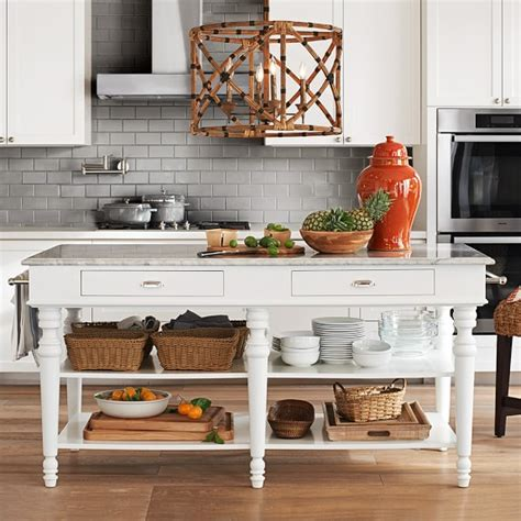 Marble Top Kitchen Islands Larkspur Marble Top Kitchen Island Williams Sonoma