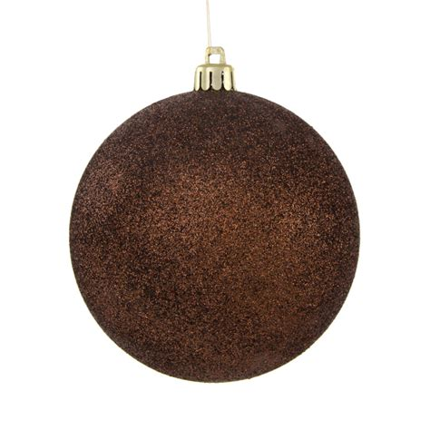 100mm round glitter ball ornament metallic chocolate