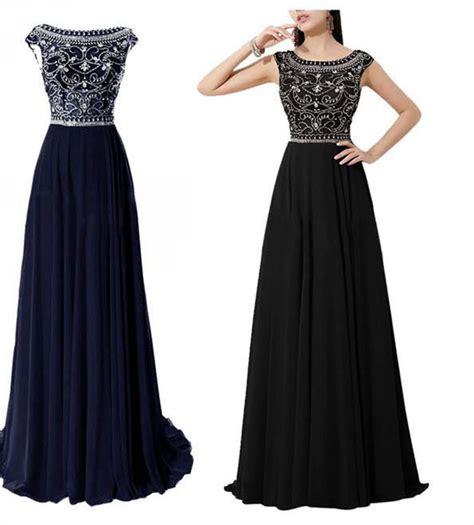 Marina Longdress Bisa Custom dramatic vintage cap sleeves navy blue prom dresses