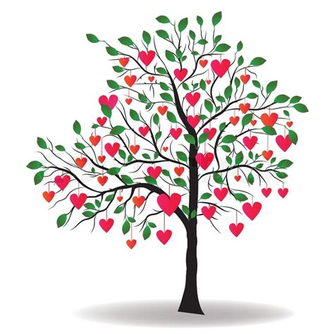 Branch Home Decor by Valentine Day Tree With Leaf Like Heart Vector