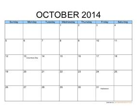 Calendar Template 2014 Free by Free Big Size Printable Monthly October 2014