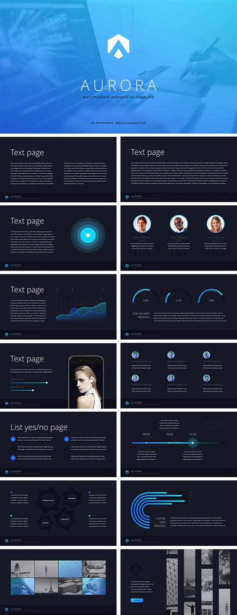 templates for aurora 3d presentation aurora free ppt template blue download free now