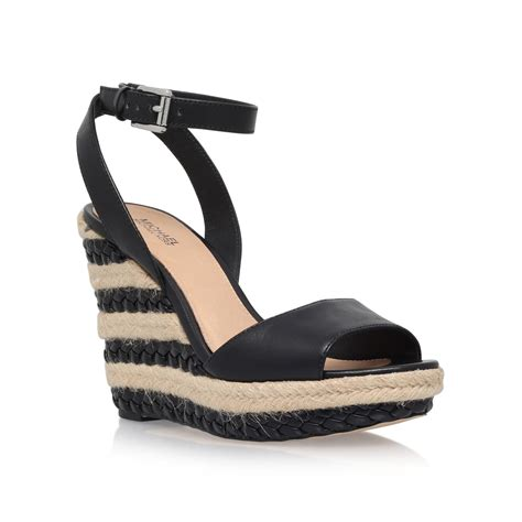 high heel flats michael kors kyla high wedge heel sandals in black lyst
