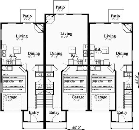 multiplex house plans triplex house plans 3 unit house plans multiplex plans t 399