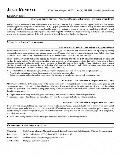 Resume Profile Exles Mortgage Loan Officer Loan Officer Resume