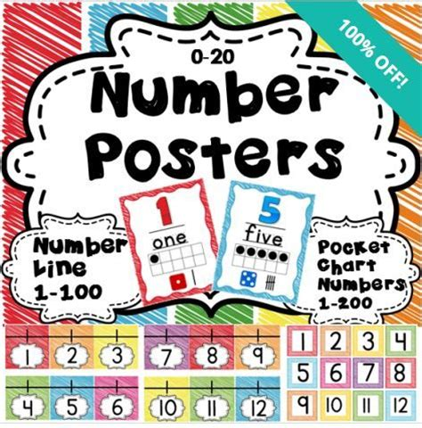 free printable number line banner 72 best images about pre k number posters on pinterest