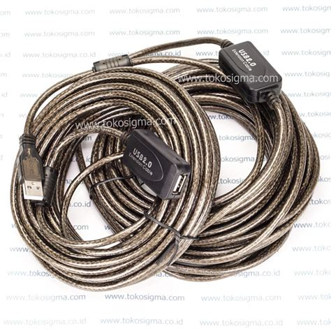 Harga Kabel Vga 20 Meter usb 2 0 extension cable 20 meter with booster toko sigma