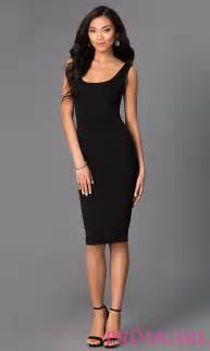 black dress scoop neck sleeveless midi dresses promgirl