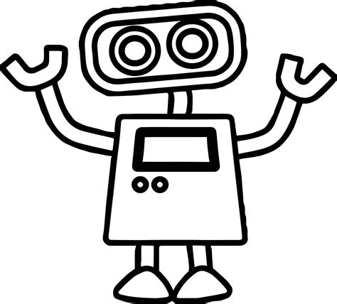 simple robot coloring page basic cute robot coloring page wecoloringpage