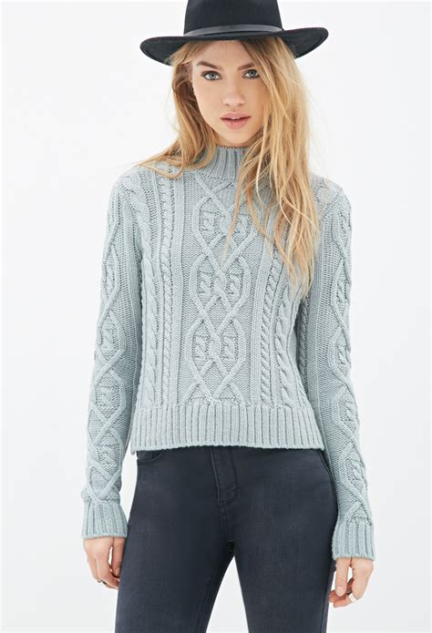 forever 21 cable knit sweater forever 21 cable knit mock neck sweater in blue lyst