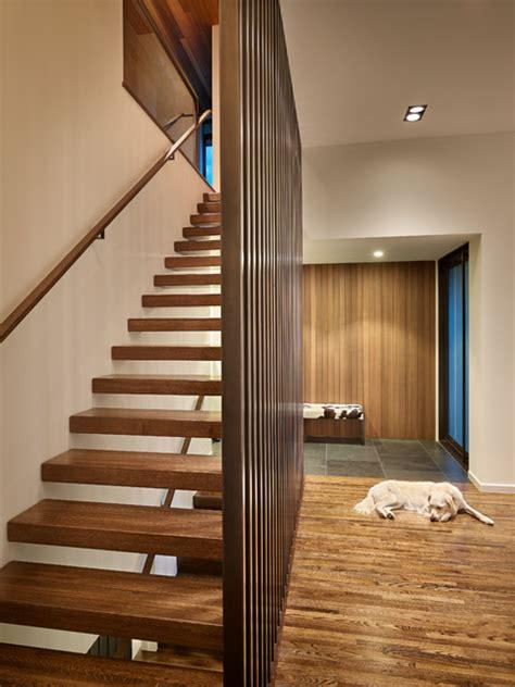 custom home sunrise vista midcentury staircase seattle    feldt general