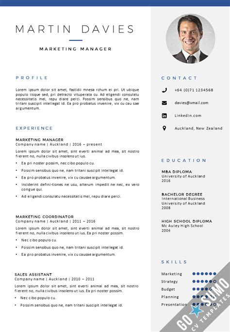 Cv Template With Photo Cv Template Auckland Gosumo Cv Template