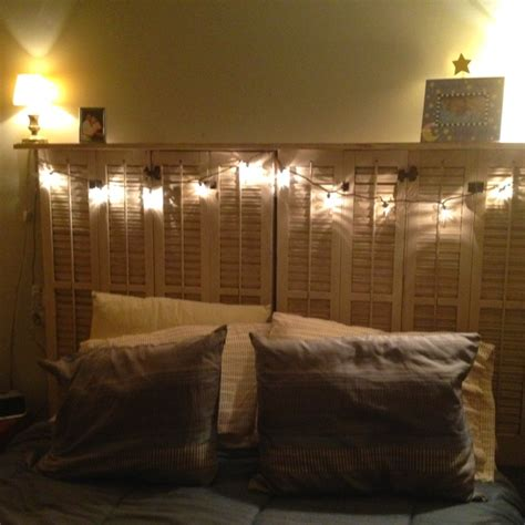 headboards with shelves and lights shutter with shelf headboard and string lights diy