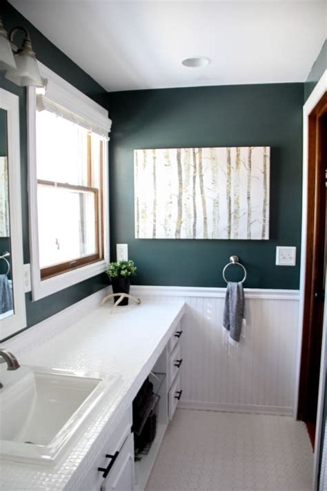 Modern Bathroom Countertops by How To Paint Tile Countertops And Our Modern Bathroom