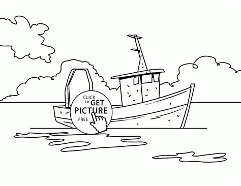 fishing boat coloring pages free realistic fishing boat coloring page for kids