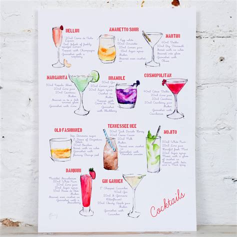cocktail recipes cocktail recipe watercolour print by yellowstone