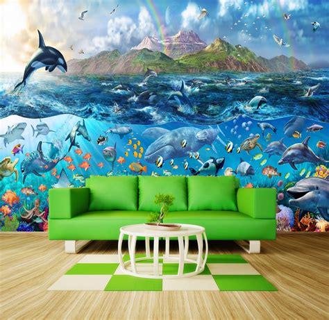 wall decals murals wallpaper tropical sea fishes orca wallpaper wall mural