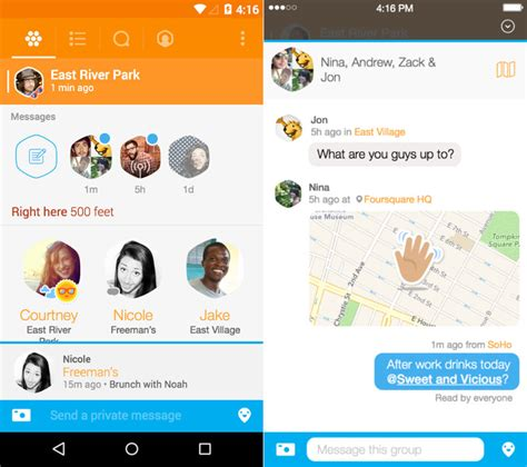 Android Nearby Messages by Swarm By Foursquare For Android And Iphone Now Lets You