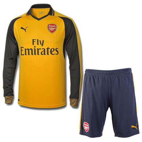 arsenal yellow kit 16 17 arsenal away yellow long sleeve jersey kit shirt