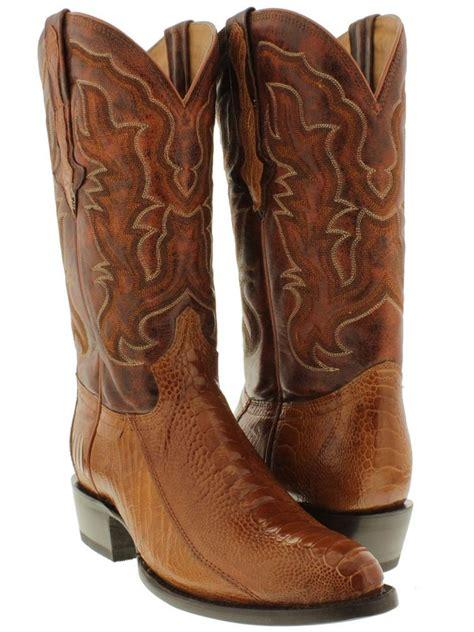 skin cowboy boots for s cognac brown genuine ostrich leg skin cowboy