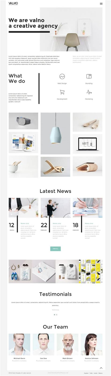 html5 css3 layout design valno minimal creative multi page portfolio template