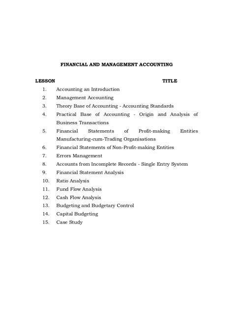 Financial Accounting Notes For Mba by Financial And Management Accounting Notes Mba Bk