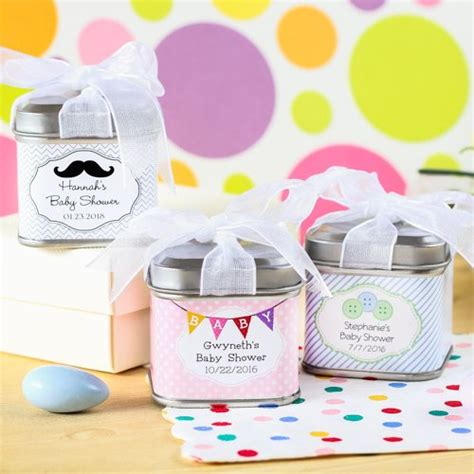 Baby Shower Favors by Personalized Square Baby Shower Favor Tins