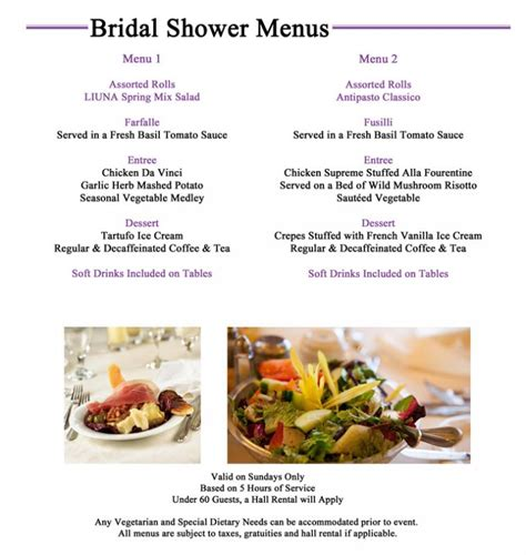 bridal shower menu template bridal shower menu template business